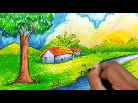 How To Draw Simple Natural Village Scenery For Kids Village Scenery Drawing For Beginners Bangla Viral