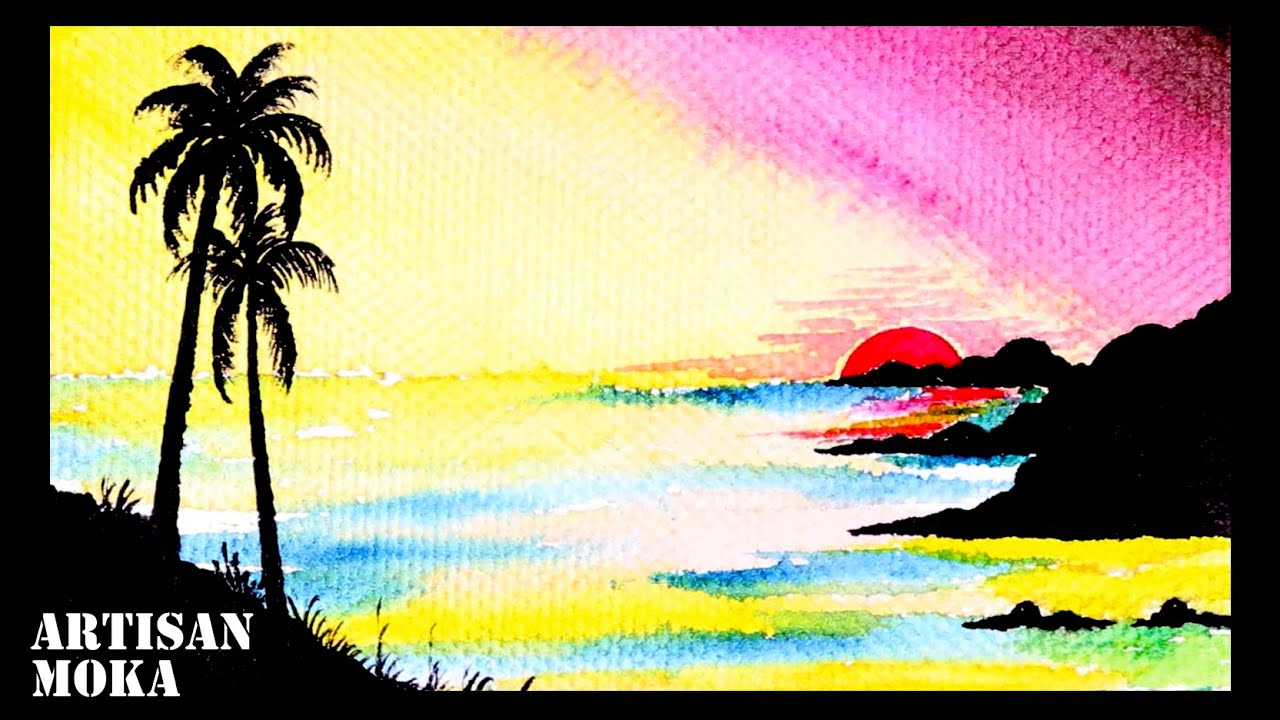 How To Draw Beautiful Sunset Scenery With Watercolor Step By Step Easy Paintings Ideas Bangla Viral